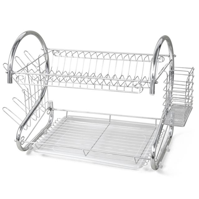 New 2 TIER CHROME PLATE DISH CUTLERY CUP DRAINER RACK DRIP TRAY PLATES HOLDER  sc 1 st  AliExpress.com & GSFY!New 2 TIER CHROME PLATE DISH CUTLERY CUP DRAINER RACK DRIP TRAY ...