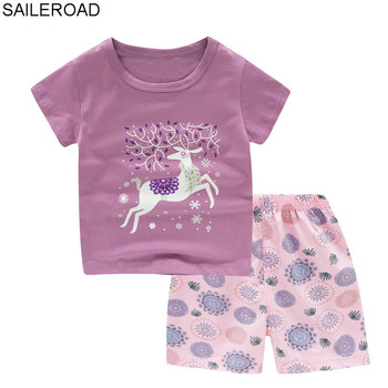 958e32993806 SAILEROAD 2019 nuevos conjuntos de pijamas para niños bebé niña linda  dibujos animados ciervos ropa de hogar niños infantil de algodón de manga  corta ...