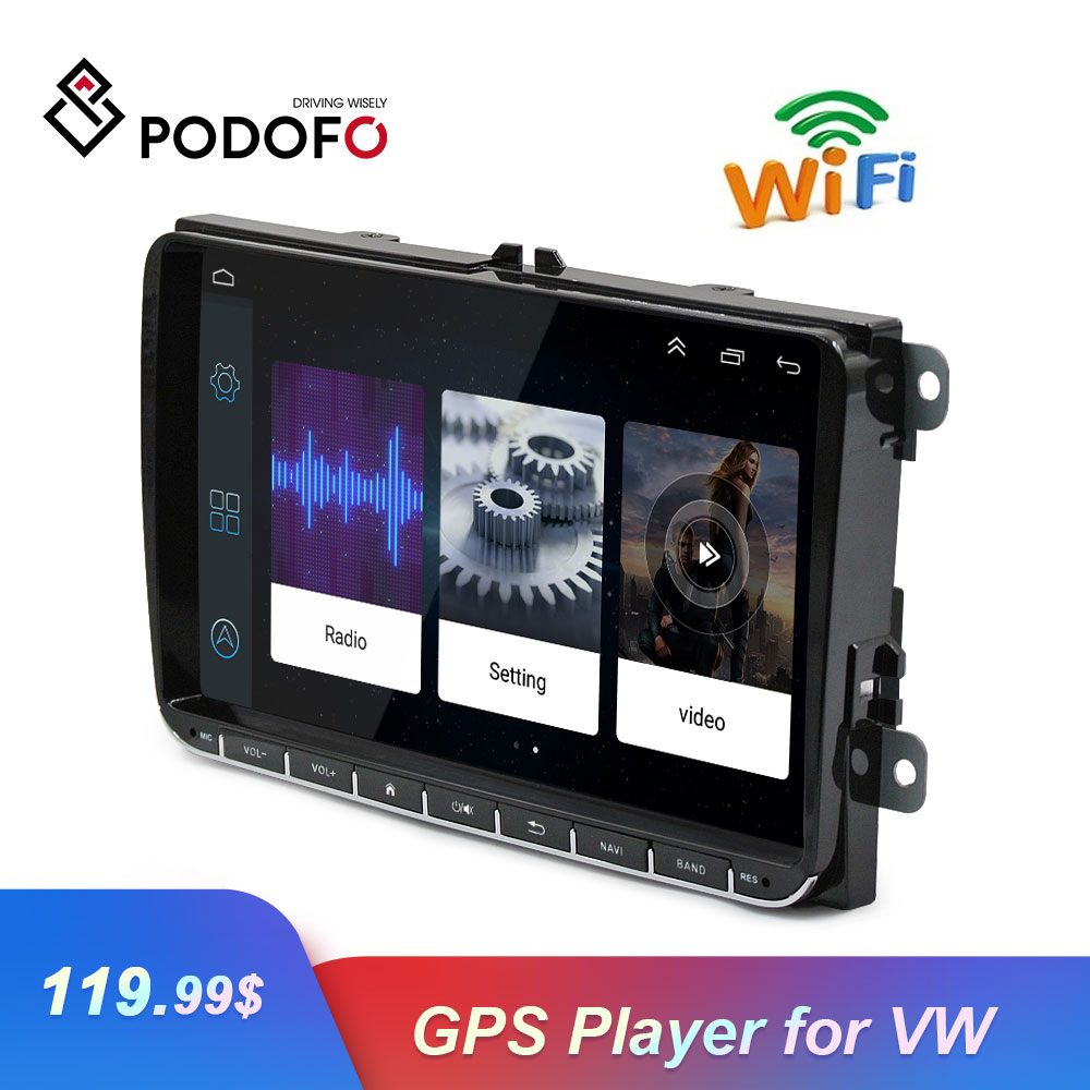 Podofo 2 Din 9 Android Autoradio Car GPS Navigation Mirror Link  CANBUS WIFI Car Multimedia Player For Passat Golf Touran SeatPodofo 2 Din 9 Android Autoradio Car GPS Navigation Mirror Link  CANBUS WIFI Car Multimedia Player For Passat Golf Touran Seat