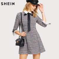 SHEIN Women Dress Multicolor Three Quarter Length Sleeve A Line Dress Fit And Flare Contrast Collar