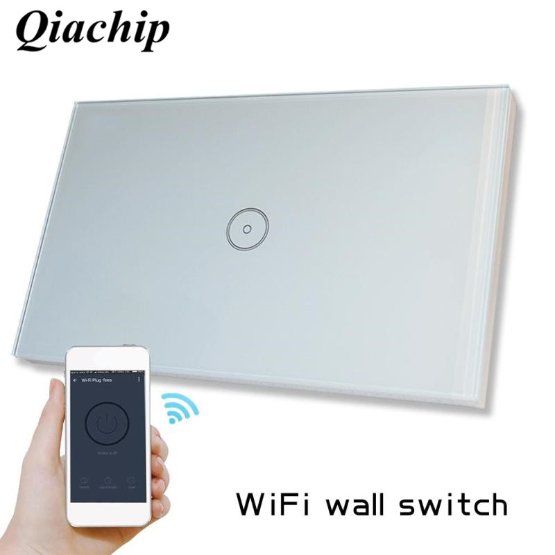 Wifi Smart Touch Switch US Standard Amazon ALEXA Control Tempered Glass Panel Voice Control 1CH Light Wall Switch sonoff  D us standard 1gang 1way remote control light touch switch with tempered glass panel 110 240v for smart home hospital switches