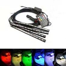 4 шт. 12 В свет салона RGB светодиодные ленты клейкие DRL 5 музыка/IR/APP управление Авто Декоративные универсальный набор Туман лампа неоновый шнур