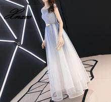 Dress 2019 Fashion O-neck Shiny Sequined Gradient blue A-line Lace Up dress blue lace up
