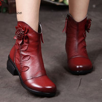TASTIEN Women Boots Winter Fall Spring Genuine Leather Ankle Fashion Rivets Lace Up Platform Shoes Classic