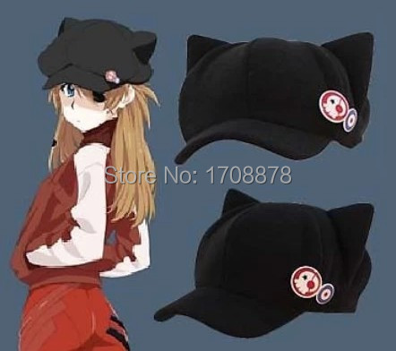 Anime Neon Genesis Evangelion EVA Asuka Langley Soryu Cat Ears Hat Cosplay Costume Cute Plush Cap With Badges Daily Casual Hat