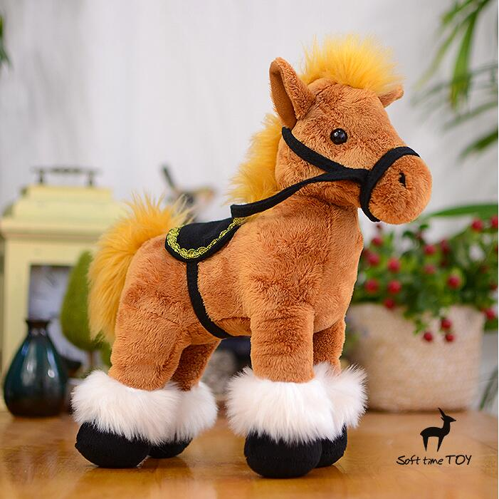 Stuffed Animal Toys Simulation Horse Riding Doll Plush  Children Toys  Gifts Brown Saddle Pony Dolls stuffed toys