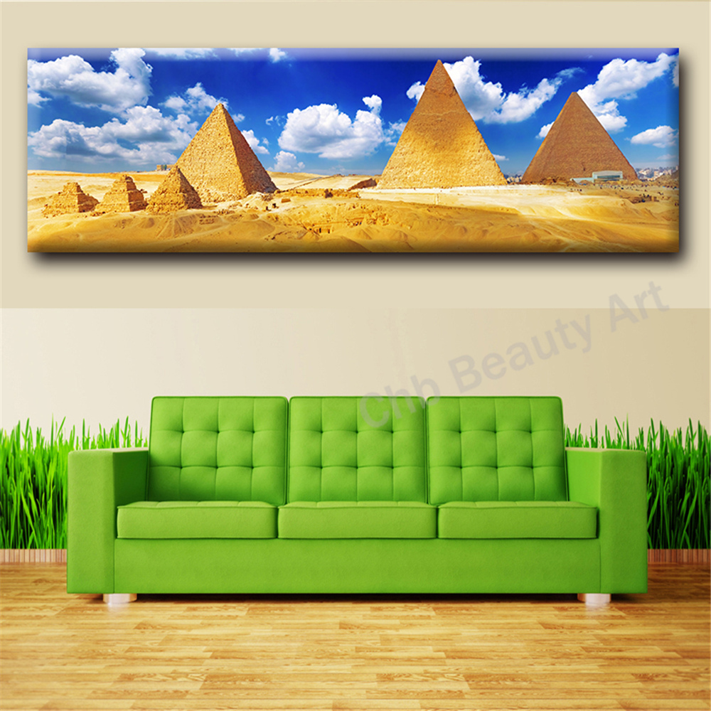 Egyptian Decor Hd Pyramid Oil Painting Wall Art Home Decorative Wall Picture For Living Room