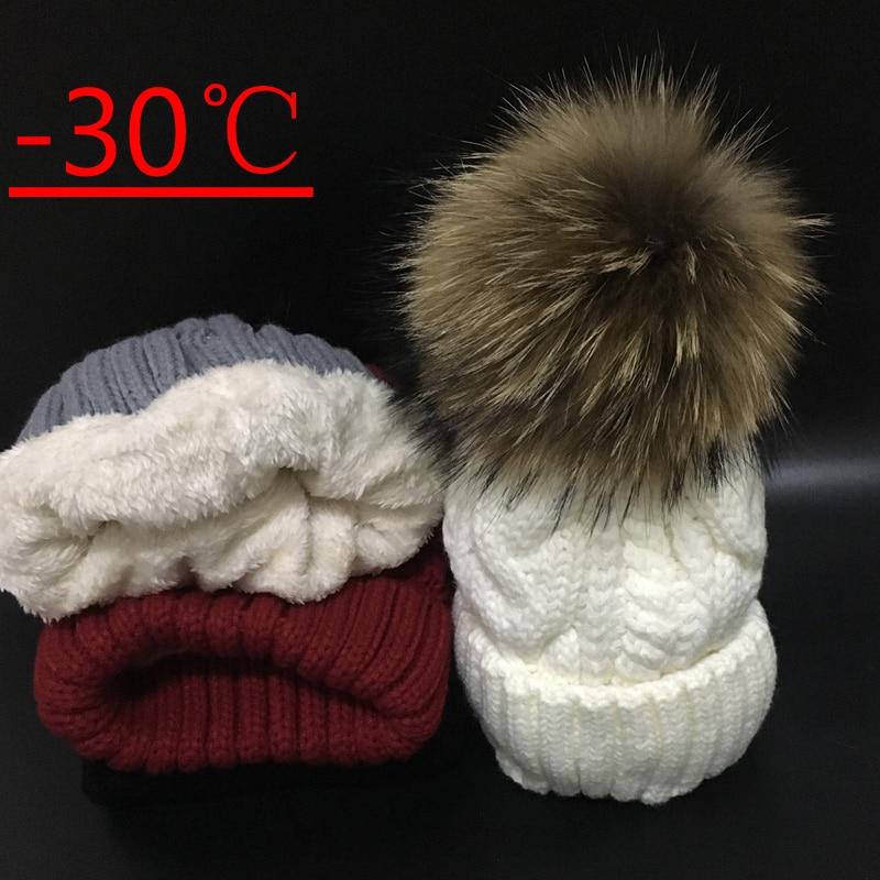 2018 gorros de mujer añadir velvet Fleece dentro gorros de invierno para mujeres 100% gorros de piel de mapache pompón sombrero de mujer