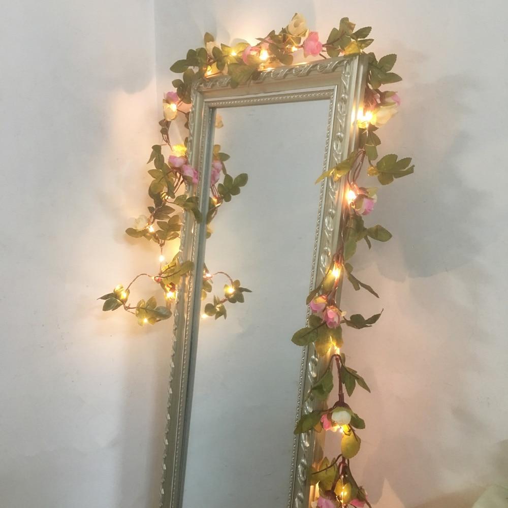2.2M 25 LED różowy kwiat róży girlanda działa bateria Miedziana - Oświetlenie wakacje - Zdjęcie 6