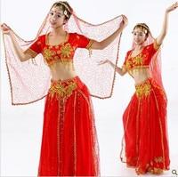 Summer New Belly Dancing Costume for Women Sexy Bra Top Veil Clothes Performance Indian Dance Maxi Long Skirt Waist Chain L104