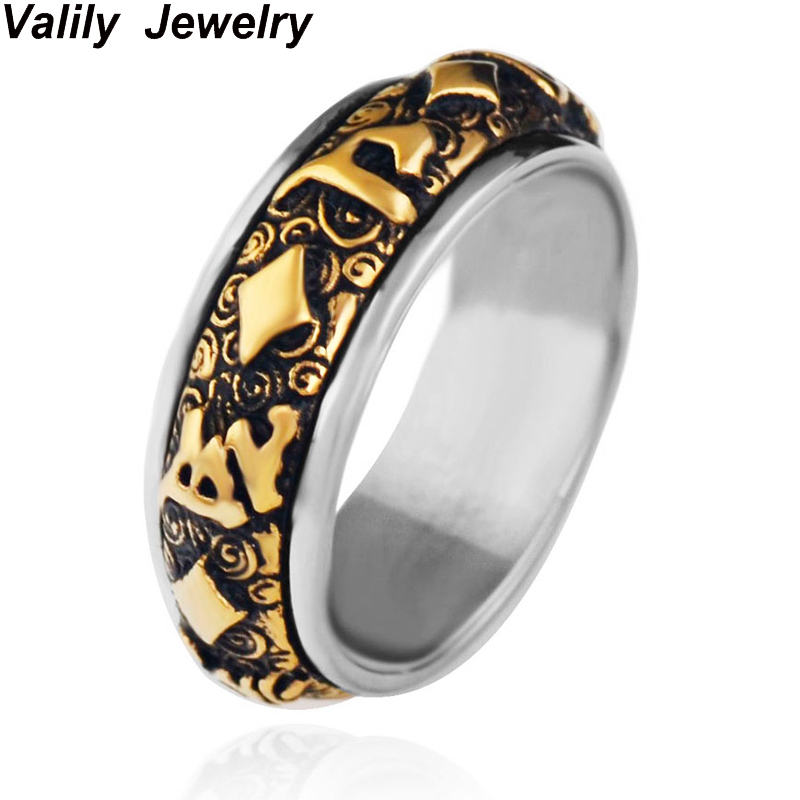 Valily Jewelry Mens Gold color Buddhism Rotate Rings Stainless Steel Band Spinner Ring Men, US Sizes 7 to 13