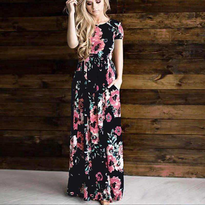 cd32d919e30 Летние платья Boho Стиль богемное платье Для женщин короткий рукав пляжные  Цветочный принт халат Винтаж белые