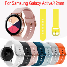 20mm Silicone band For Samsung Galaxy Watch Active strap for Samsung gear S2 sport classic replacement watchband For Galaxy 42mm 20mm width silicone strap for samsung galaxy watch 42mm band for samsung gear sport gear s2 classic sm r7320 silicone watchband