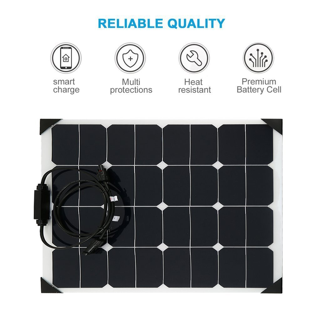 18V 50W Flexible Car Battery Solar Charger Portable Solar Panel Charger For Battery Charging Sun Power Charger 1 din car radio mp3 audio player bluetooth hands free fm stereo supports car holder usb2 0 sd aux audio playback usb charger 12v