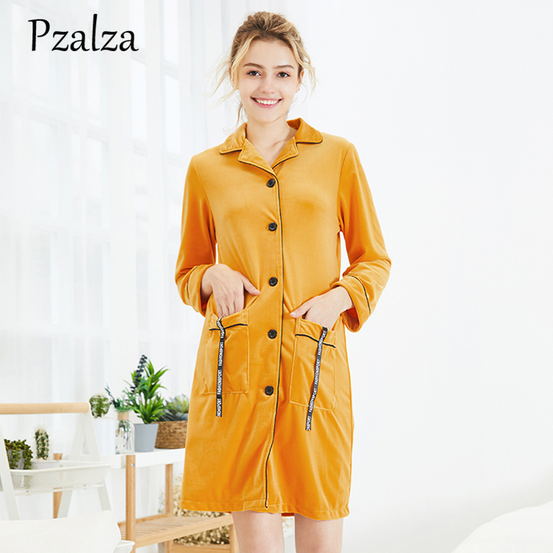 Yellow Long Seelve Button Autumn Nightshirts Home Clothes For Women Casual Pockets Letter Women   Nightgowns   Sleepwear   Sleepshirts