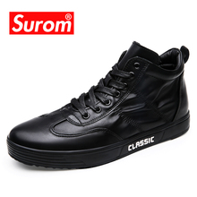 SUROM Casual Shoes Men Leather Black Fashion Winter Snow Warm High Top Flats Lace Up Classic White Male Shoes Comfortable