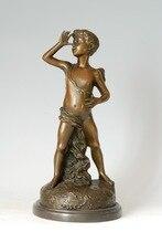 ATLIE Bronze Statue Overlooking boy Christmas Gifts handmade casting artwork brass copper sculpture