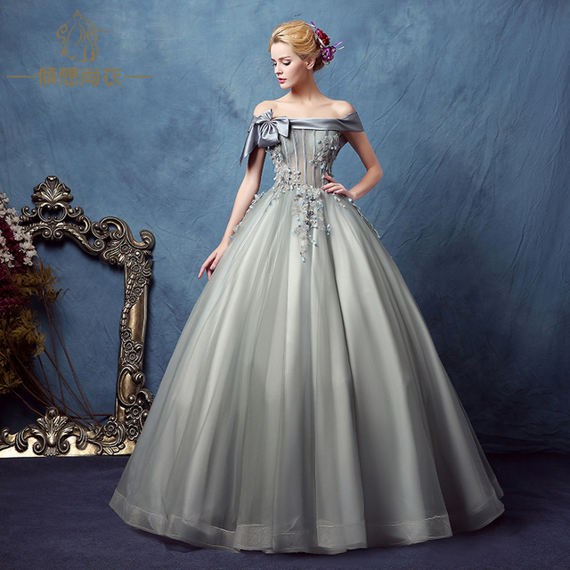 100%real silver grey slash bowknot collar beading court ball gown ...