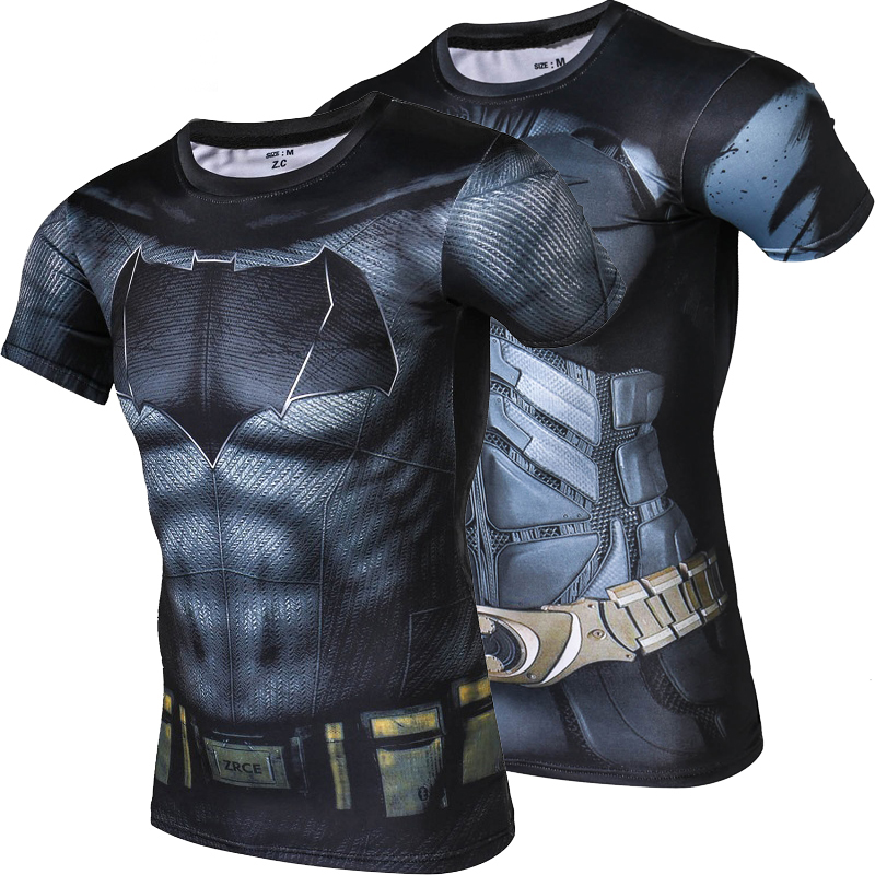 New Fashion Men Batman Tights Quick Dry Summer   t     shirt   High Quality Fitness Clothing Breathable Sweat   shirt   Men Crossfit