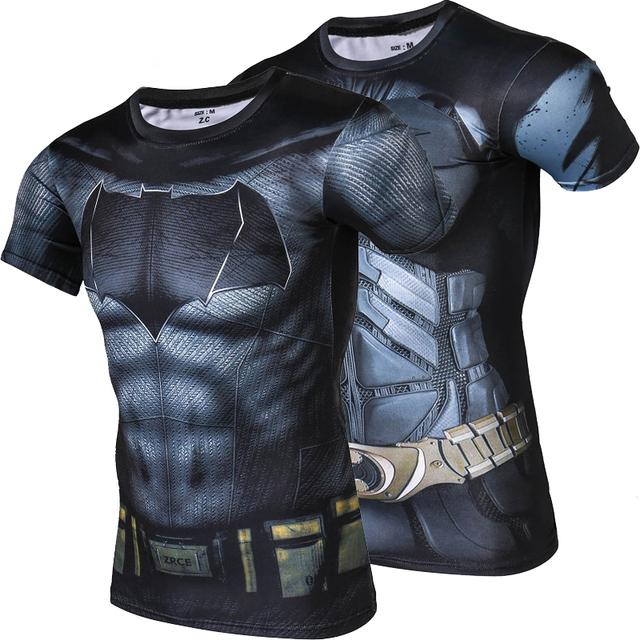 New fashion men batman collants de secagem rápida de verão t camisa de alta qualidade clothing respirável camisa de suor dos homens de fitness crossfit