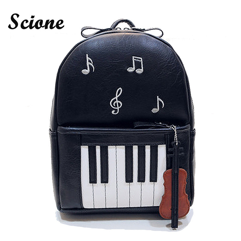 2017 Vogue Fashion Black Harajuku Backpack Novelty Piano Design PU Leather Backpacks for Teenagers Women School