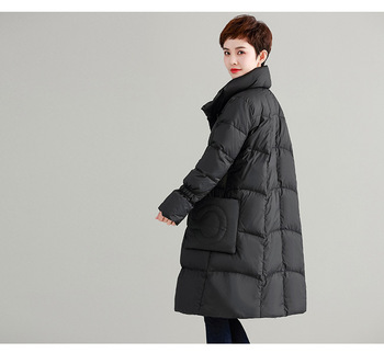 2018 winter dress new standing-collar thickened Korean version of the loose large size white duck down jacket down long female