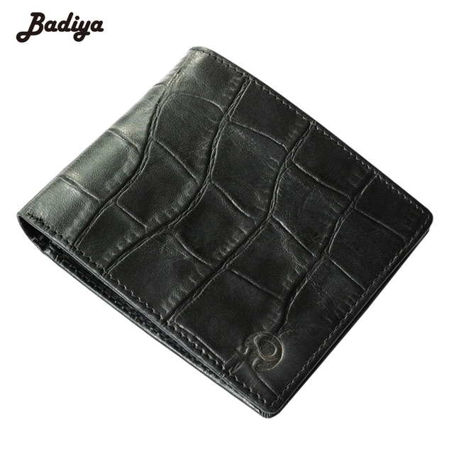 e0b73a4567b1 US $6.32 38% OFF|Men Alligator Pattern Cowhide Real Genuine Leather Short  Wallet Bifold Clutch Coin Dollar Price Purse ID Card Holder Carteira-in ...
