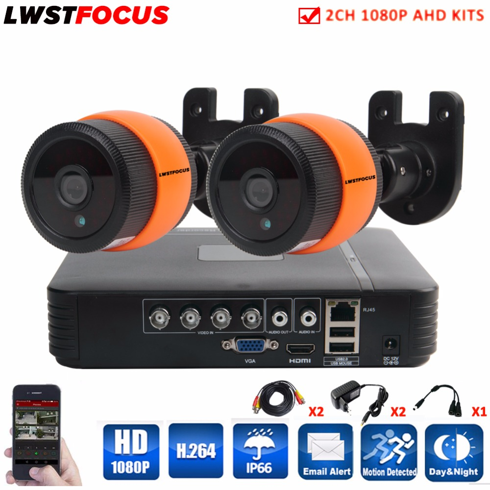 4CH CCTV System 1080N AHD CCTV DVR 2*2.0MP 3000TVL 1080P IR Night Vision Outdoor Security HD Camera Vedio Surveillance DVR Kit cctv surveillance ahd security 1080p 2 0mp hd dome camera system night vision 3 6mm lens cctv camera 24leds ircut for ahd dvr