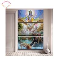 3 Piece Hindu Lord God Vishnu Seated On Garuda dimaond Painting,diy 5d diamond embroidery crafts.diamond mosaic home decoration