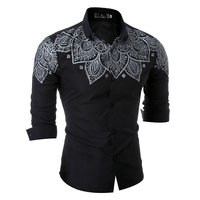 2017 Autumn Long Sleeve Shirt Mens casual black turn down cotton slim fit british style brand clothing tuxedo shirts male