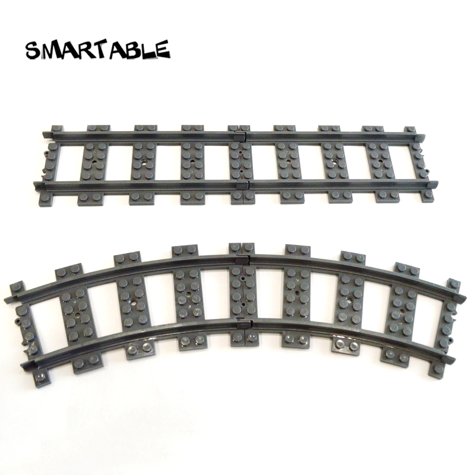 Smartable Train rail Straight and Curved Building Blocks parts DIY Toys Compatible Legoing city train Toy 10pcs/lot for gift