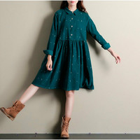 Winter Autumn Dresses Green Color Long Sleeve Casual Loose Dresses Turn Down Collar Corduroy Dress A