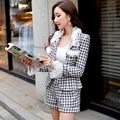 Original New 2016 Brand Autumn and Winter Plus Size Slim Woolen Black Plaid Shorts Women Boot Cut Wholesale