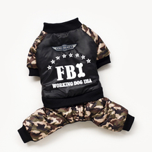 Pet Dog Clothes Costume Fashion Bright Camouflage Winter Warm Waterproof FBI Printing Coat Jacket Clothing