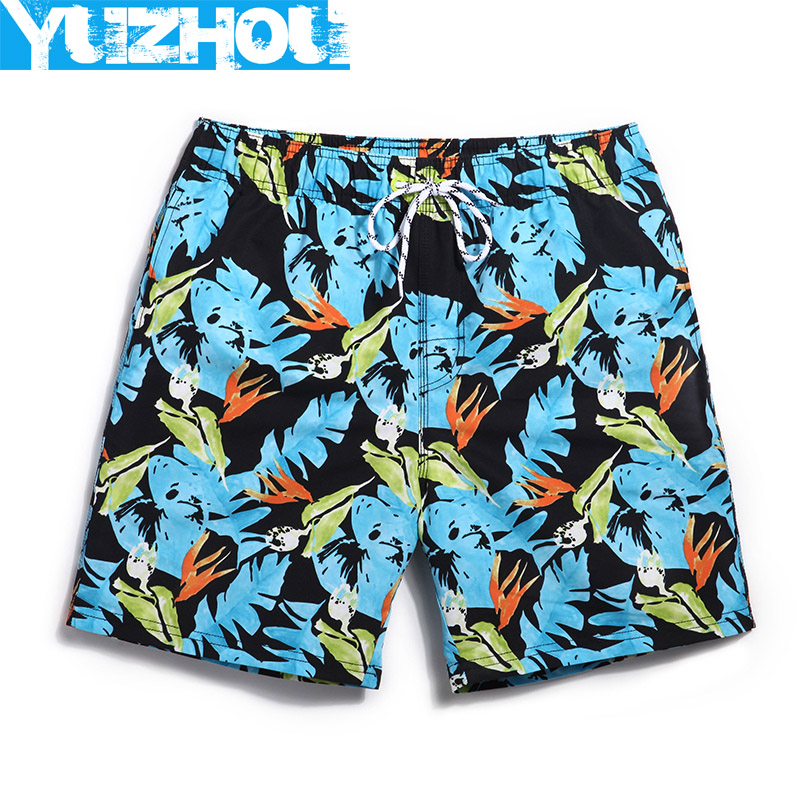 BUMI Store 2017 Summer men Board shorts Hawaii surf beach swimming trunks men running joggers mens fitness man short bemudas Flowers male