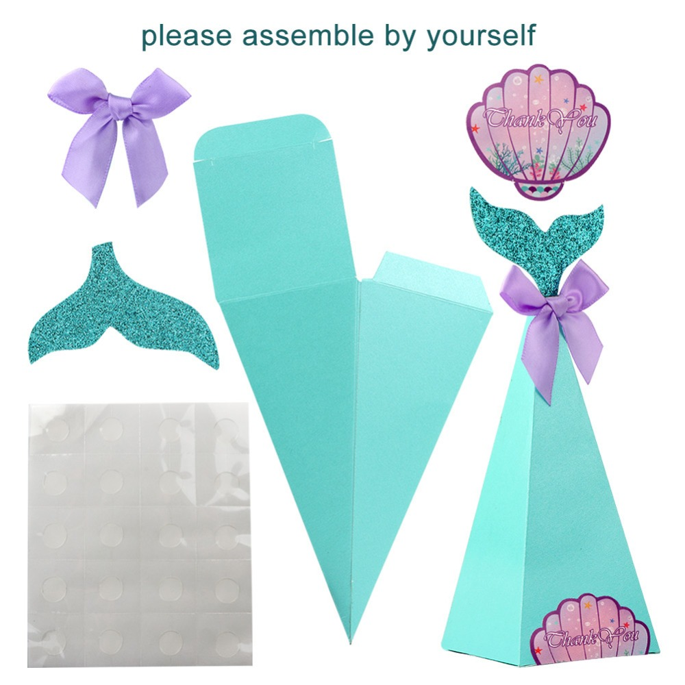 LITTLE MERMAID 12 PERSONALIZED  BIRTHDAY PARTY SMALL FAVOR BOXES RIBBON INCLUDED