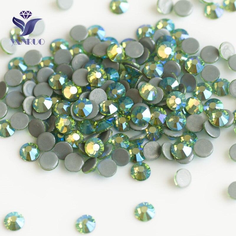YANRUO 2058HF Peridot AB Flat Back Strass Hotfix Rhinestones Crystal Heat  Iron Crystal Stones 934972e72b89