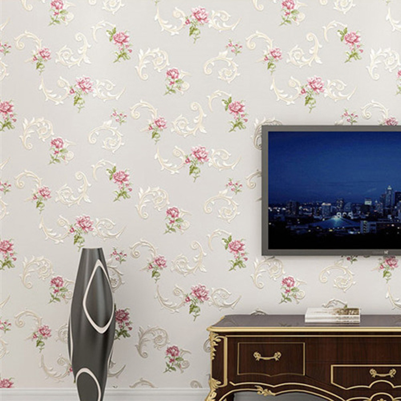 Warm Home Decor: European Style 3D Embossed Flowers Pastoral Wallpaper