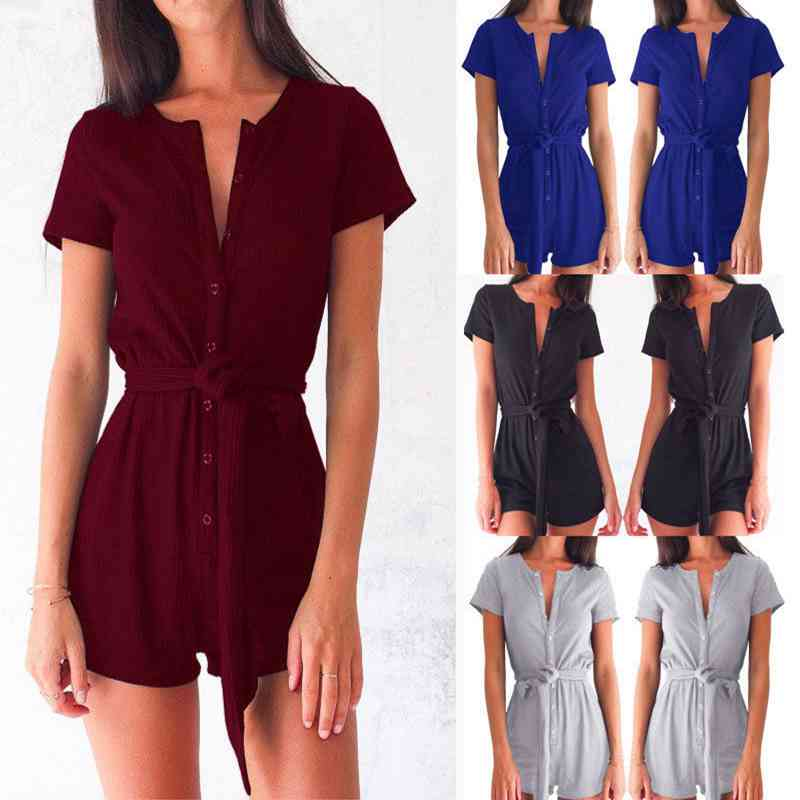 NEW Women Ladies Summer Casual Button V Neck Short Sleeve Cotton Playsuit Party Jumpsuit Romper Shorts