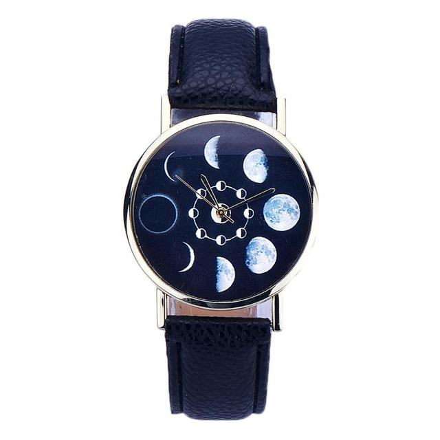 Digital Womens Wristwatch Lunar Eclipse Pattern Leather Analog Quartz Wrist Watc
