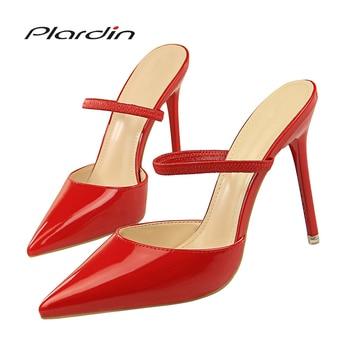 d056e3d4f Plardin/женские босоножки в сдержанном стиле модные туфли с ремешком на  щиколотке женская обувь острым носком шпильки для женщин Пряжка Босоно..