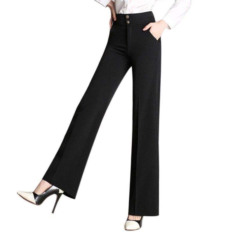 Women High Waist Loose Wide Leg Pants Trousers Zipper Office Women Long Pants OL Office Career Capris Work Wear Trousers Mujer