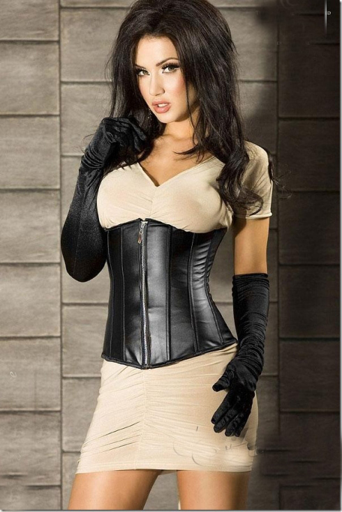 Women Sexy Bustiers & Corsets Top Waist Corsets Leather Underbust Corset Zipper Lace Up Back + G-string