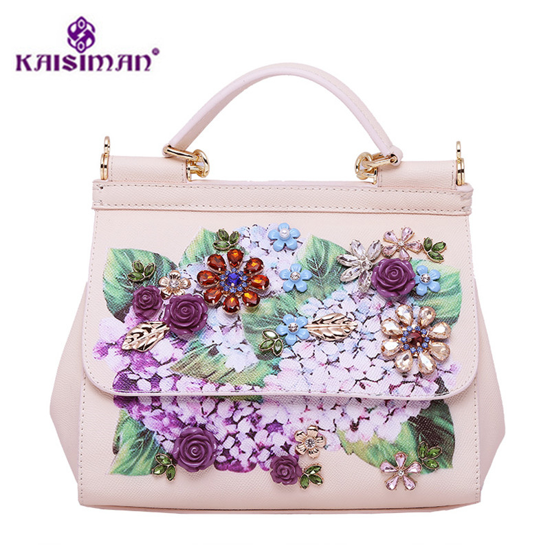 Famous Designer Sicilian Vintage Ethnic Style Handbag Genuine Leather Platinum Tote Bag Luxury Pearl Flower Carving Shoulder Bag