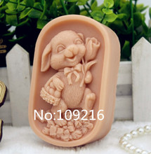 New Product!!1pcs Mum Rabbit Rose (zx186) Food Grade Silicone Handmade Soap Mold Crafts DIY Mould