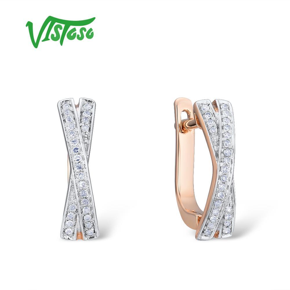 VISTOSO or boucles d'oreilles pour femmes véritable 14K 585 or Rose étincelant diamant exquis anniversaire mariage bande Fine bijoux