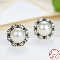 Elegant Pearl Earrings Hot Sale 100 925 Sterling Silver Stud Earrings For Women Lady Authentic Original
