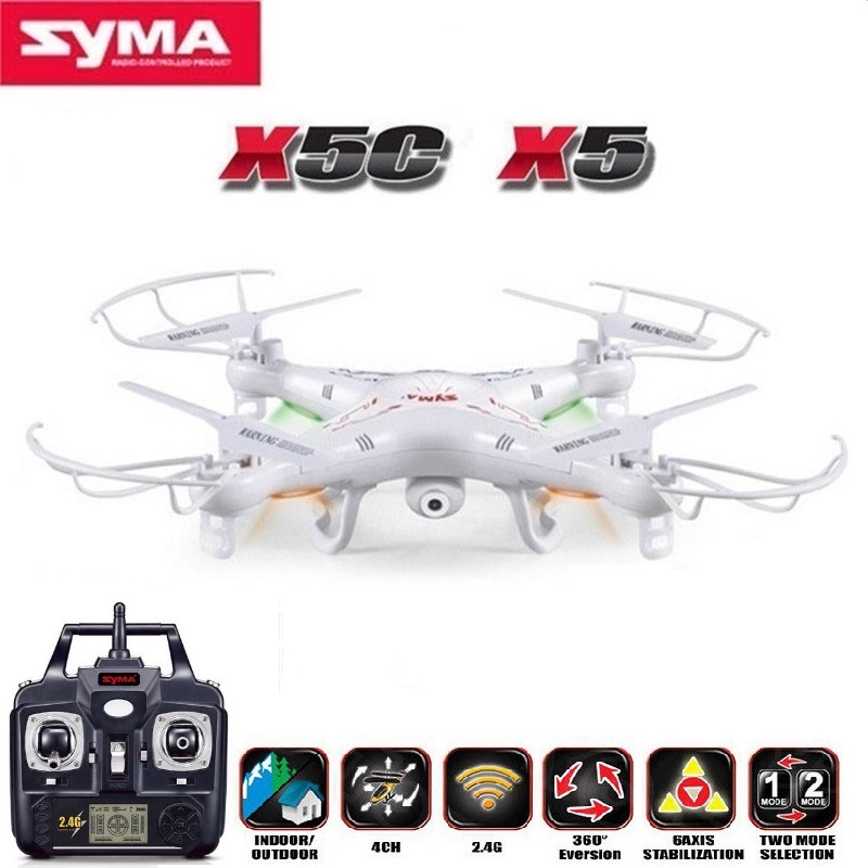 Original SYMA X5C RC Helicopter Drone Quadcopter 2.4GHz 4CH 6 Axis 2MP HD Camera RTF Remote Control Professional Dron Toys