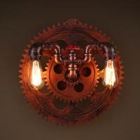 Loft Style Vintage Wall Lamp Industrial Wall Lights Creative Wooden Gear Edison Lamp Bar Coffee Shop Art Deco Lighting