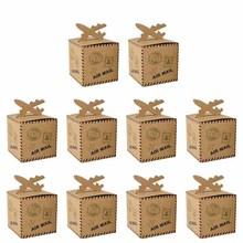 10 Uds avión Retro Chocolate bolsa de regalo para caramelos para Vintage boda viaje tema cumpleaños fiesta decoración para fiesta de bienvenida de bebé Favor